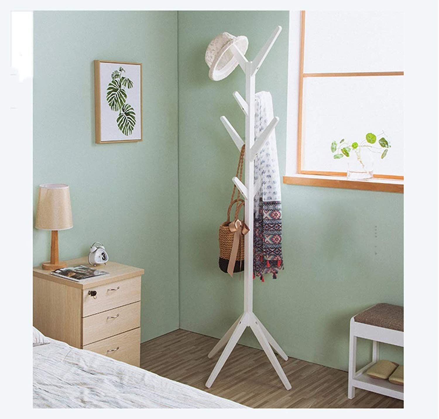 XIAOLONG Coat Stand Standing Bamboo Tree-Shaped Display Coat Stand with 4 Tiers 8 Hooks and Solid Feet for Clothes Scarves and Hats -45 (color   White)