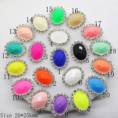 Lot de 30 20 Mmx25 mm ovale Acrylique Décoration strass Bouton Flateback DIY Accessoires Mix 20 couleurs