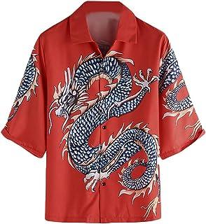 1 Stück asiatisches Herren Hemd  F Rot  mit Drachen Motiv Größe XXL Langarm Neu
