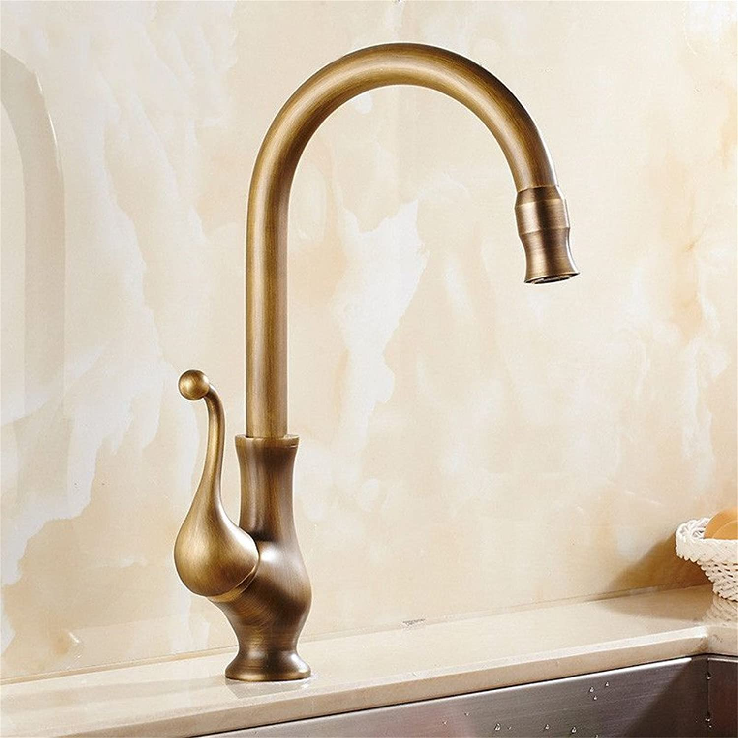 Bijjaladeva Antique Bathroom Sink Vessel Faucet Basin Mixer Tap Antique-brass kitchen faucet hot and cold water mixing valve tank fittings can be redated 360° Single Hole Single Ha
