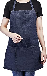 Kitchen Bid Apron, Adjustable Denim Jean Aprons with 3 Pockets, Professional Grade Chef Cooking Apron for Women Men in Coffee Baking Bar, Restaurant and Studio