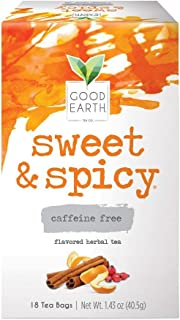 Good Earth Herbal Tea, Sweet & Spicy Caffeine Free, 18 Count Tea Bags