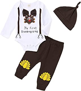 Newborn Baby Boy Girl Thanksgiving Outfit Long Sleeve Bowknot Turkey Romper Top+Solid Color Pants+Hat 3PCS Clothes Set