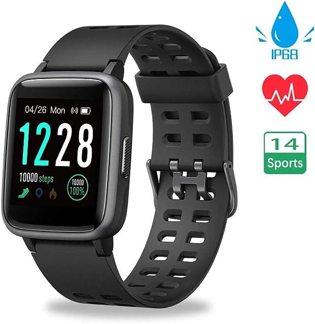 Smartwatch Reloj Inteligente Impermeable IP68 Pulsera Actividad Hombre Mujer Inteligente Reloj Deportivo Reloj Fitness con Pantalla Táctil Completa Pulsómetro Cronómetros para iPhone iOS Android
