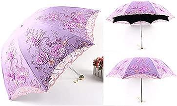 zeoqo Lace Flower Folding Umbrellas For Women Folding UV tion Rainy Umbrella Embroider Pink Flower Print Pocket Umbrella,Three-folding 8