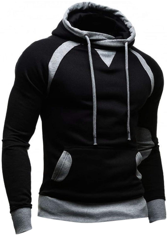 Men's Active Hoodies, Cowl Neck Drawstring Hooded Sweatshirts Color Block Slim Pocket Pullover Top with Drawstring