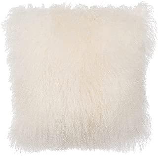 February Snow Deluxe Home Decorative Rectangular Soft Plush 100% Real Mongolian (Tibetan) Lamb Wool Pillow/Cushion Cover/Case (White, 26x26inch)