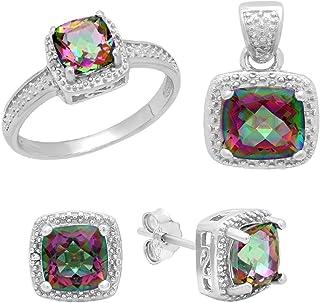 Dazzlingrock Collection Sterling Silver Rainbow Quartz & Diamond Accent Ladies Halo Engagement Ring, Earring & Pendant Set