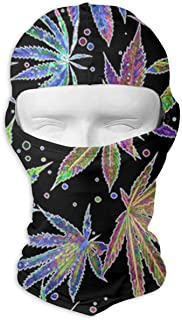 Outdoor Balaclava Ski Face Mask Motorcycle Cycling Bike Warm Hiking Skateboard Hood For Women Men Colorful Neon Pot Leaf Weeds Party
