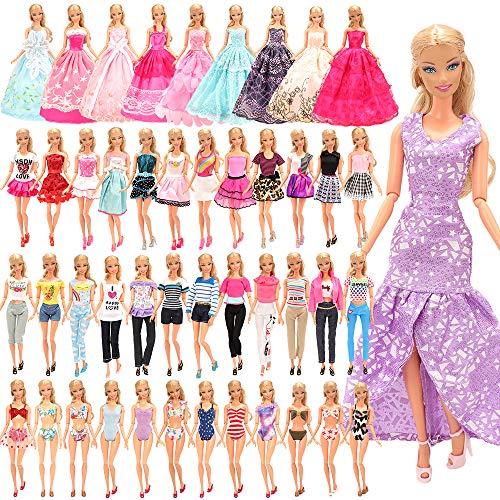 Miunana 21 Pezzi Selezionati A Caso per 28 - 30 CM / 11.5 Pollici Principessa Bambola: 5 Vestiti alla Moda + 5 Abiti + 5 Pantaloni + 3 Vestiti da Sposa + 3 Costumi da Bagno