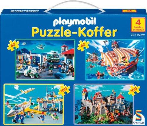 Schmidt Spiele Playmobil Puzzlekoffer, 2x60, 2x100 Teile