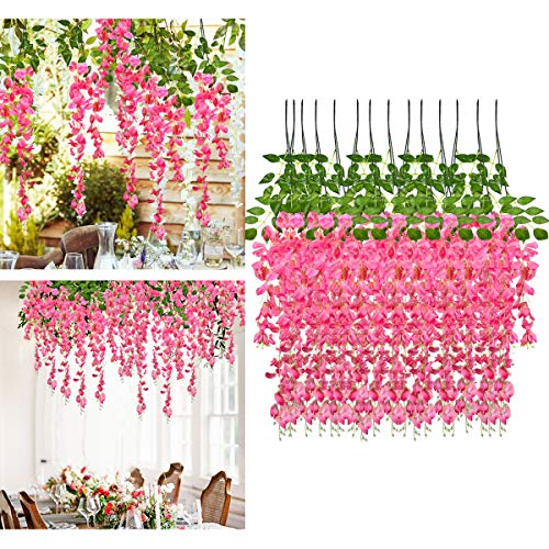 IMIKEYA 12 Pack Artificial Wisteria Flowers Fake Wisteria Vine Ratta Hanging Garland Silk Flowers for Wedding Party Home Decorations, 3.25 ft