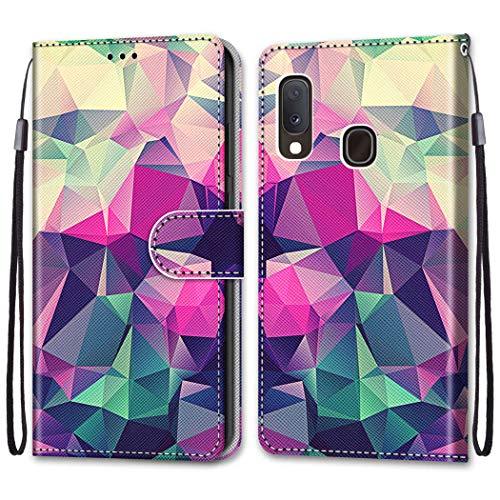 Nadoli Bunt Leder Hülle für Samsung Galaxy A20,Cool Lustig Tier Blumen Schmetterling Entwurf Magnetverschluss Lanyard Flip Cover Brieftasche Schutzhülle mit Kartenfächern