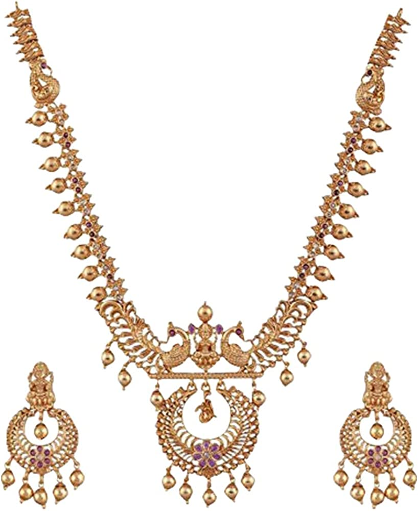 Tarinika Kanti Gold-Plated Indian Jewelry Set with Necklace and Earrings - White Red