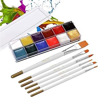 12 Colors Solid Oily Face Paint Pigment Greasepaint Kit with 6pcs Paintbrush Brushes Safe Body & Face Paint Facepaints Bod...