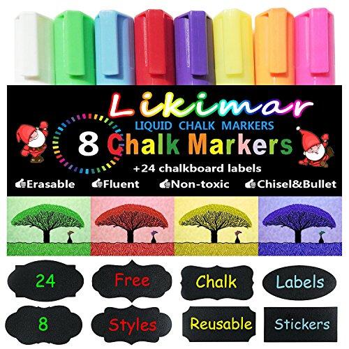 Likimar Chalk Markers for Chalkboards Erasable Liquid Marker Pens for Kids-CHILDREN FRIENDLY, Reversible Tips for Windows, Bistro, Glass, Whiteboards+ Free Chalk Labels