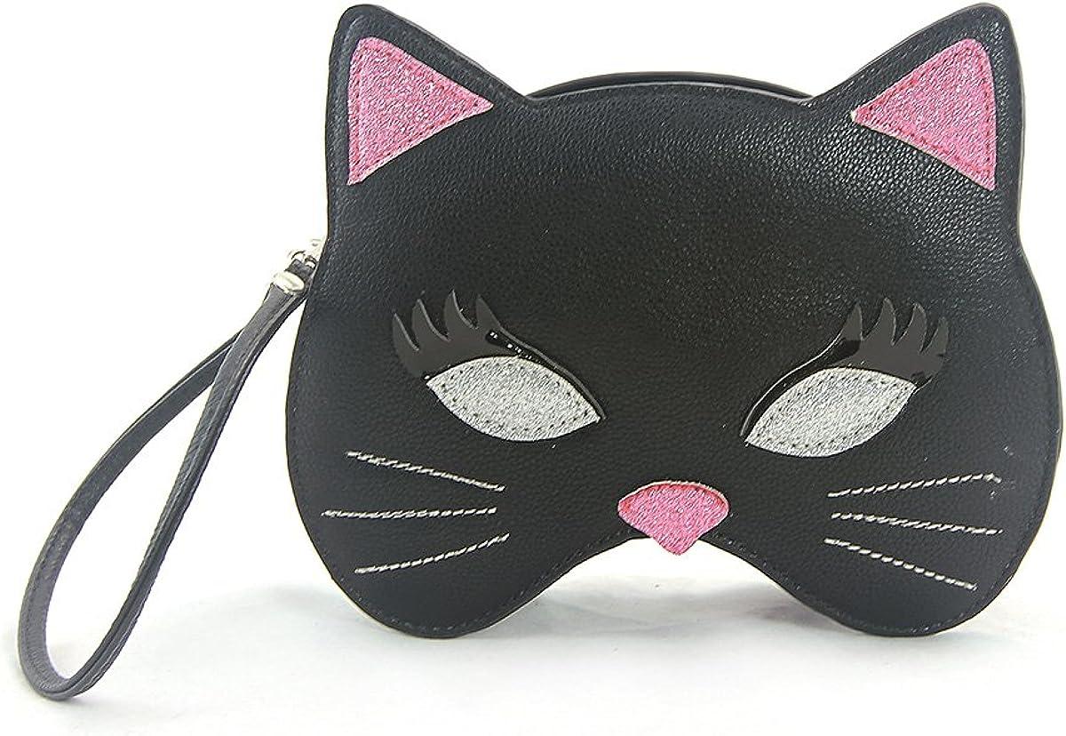 Sleepyville Critters - Black Kitty Mask Wristlet in Vinyl Material
