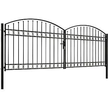 Festnight Cancela de Valla Doble Puerta con Arco Puerta para Jardin Exterior 400x125 cm Acero Negro: Amazon.es: Hogar