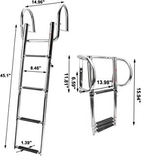 NovelBee 4 Step Inboard Boat Ladder,Stainless Steel Telescoping Step Ladder Folding Dock Ladder for Marine Boat Yacht Swimming Pool