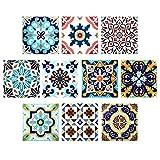 Comius Autoadhesivo Azulejos Decorativos en Vinilo, 10 Piezas 3D Diseño de Mosaico Adhesivo Impermeable para baño de Cocina DIY 20 x 20 cm (A)