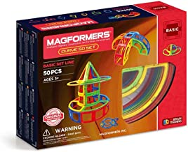 Magformers Curve 50 Pieces Rainbow Colors,  Educational Magnetic Geometric Shapes Tiles Building STEM Toy Set Ages 3+