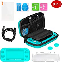 $27 » Accessories Kit for Nintendo Switch Lite 2019 - Azacow Carry Case, Charging Cable, Tempered Glass Screen Protector, 2 Thumb Grips, Silicone+Crystal Case Shell, Blue Green (8 in 1)
