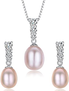 Water Drop Pearl Stud Earrings & Silver Chain Pendant Set| Impeccable Quality Natural Flawless Freshwater Pearl & 925 Sterling Silver| The Most Unique Fashion Jewelry Set (2 | Pink Pearls)