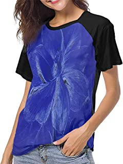 Womens Raglan Baseball T-Shirt,Floral Seamless Pattern (23) S-XXL Casual Blouses Baseball Tshirts Top