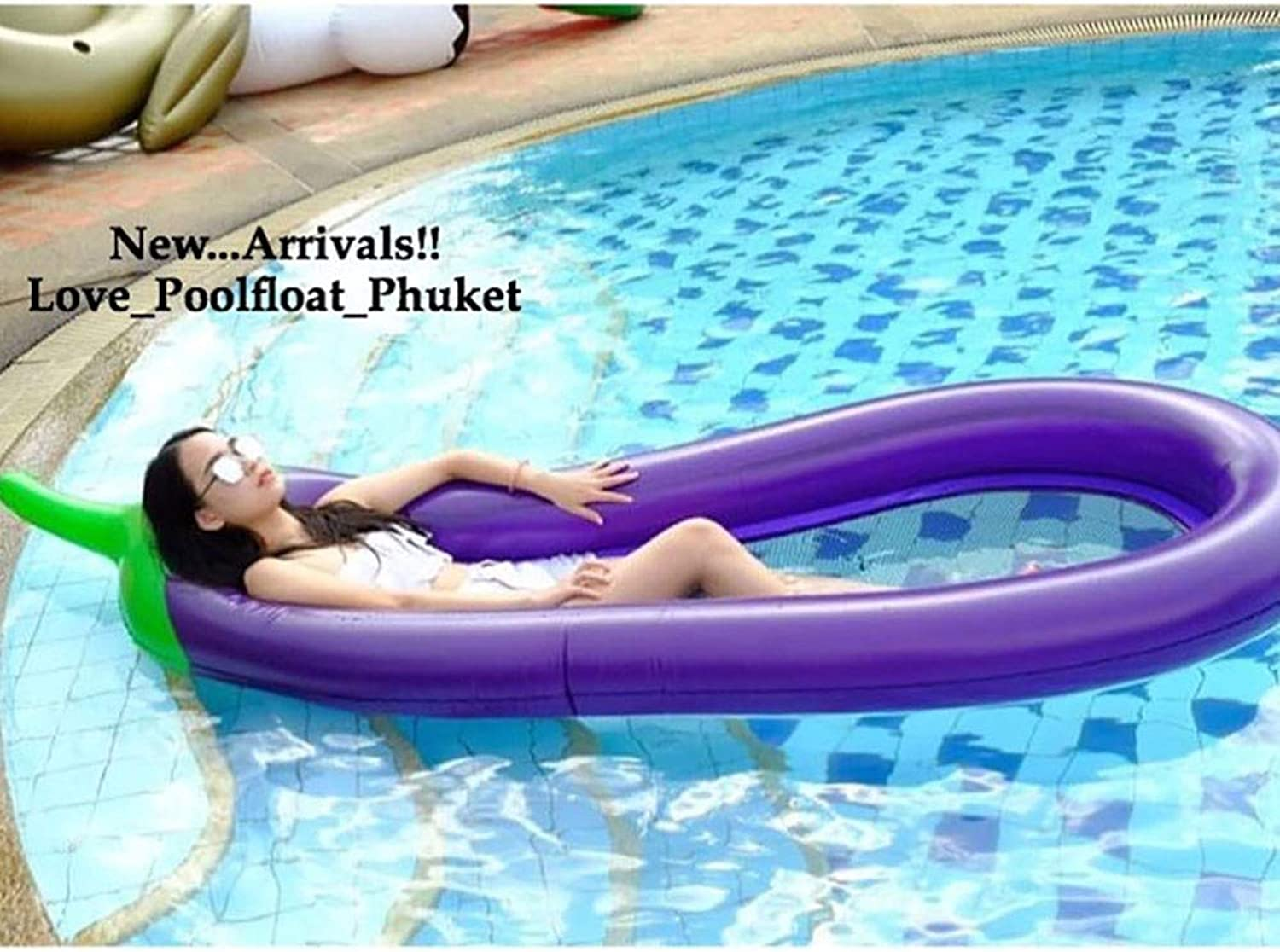Eggplant Water Hammock Lounger Float Rafts Swimming Pool Air Lightweight Floating Chair Compact and Portable for Adults and Kids Beach Recliner Inflatable PVC Swim Mat
