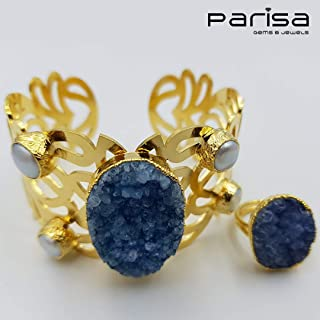 Ottoman Collection - Handmade gold plated bracelet and ring embedded with blue Turkish Druzy stones and Pearls