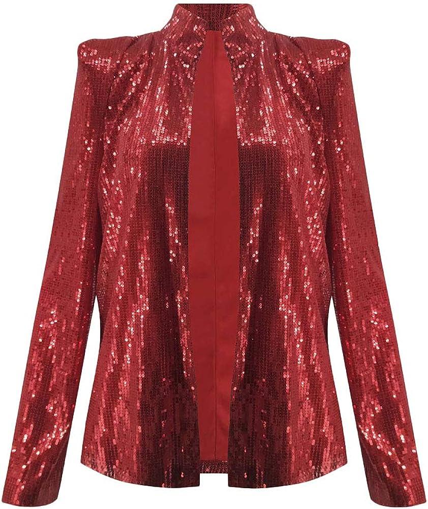 Onsoyours Damen Langarm Herbst Paillette Business Slim Outwear Blazer Bolero Glitter Mantel Cardigan Oberteil Tops Party Outfits Clubwear Rot