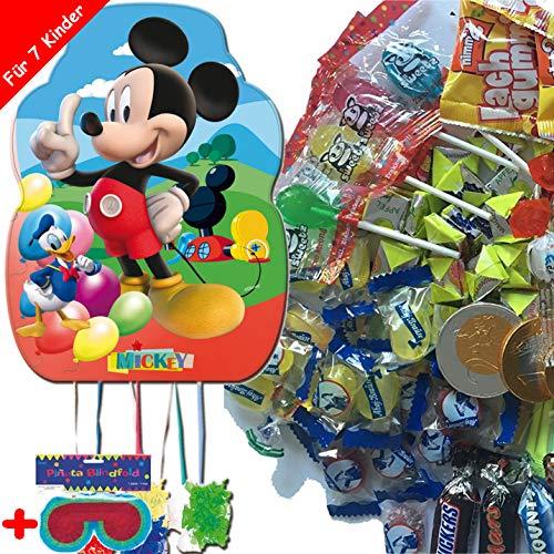 Pinata-Set * Mickey Mouse * mit XL-Piñata + Maske + 100-teiliges Süßigkeiten-Füllung No.1 von Carpeta | Spanische Zugpinata für bis zu 7 Kinder | Tolles Disney-Spiel zum Kindergeburtstag