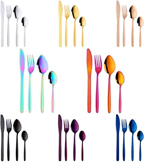 32-Piece Silverware Set for 8, BuyGo Stainless Steel Multicolor Camping Flatware Dinnerware Sets, Hand Polish, Dishwasher Safe