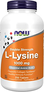 NOW Supplements, L-Lysine (L-Lysine Hydrochloride) 1,000 mg, Double Strength, Amino Acid, 250 Tablets