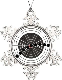 Xmas Trees Decorated Machine gun bullet holes over shooting target Halloween Snowflake Ornaments