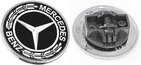 57MM Bumper Emblem,Chrome Mercedes Benz Logo, Flat Hood Star Emblem, Metal Ornament logoBadge for Mercedes Benz C E SL Class Decoration (Black Laurel Wreath)