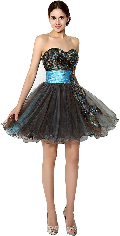 BeautyEmily Sweetheart Strapless bluee Mini Sleeveless Cocktail Dresses