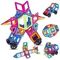 Anpro Magnetische Bausteine 112tlg, Magnetic Bauklötze - Magnetspielzeug Lernspielzeug Konstruktionsspielzeug XXXL Große ab 3 Jahren für Kinder Junge Mädchen, MEHRWEG