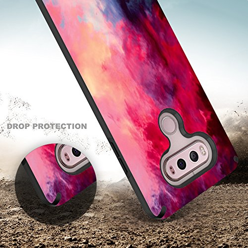 LG V20 Case, TownShop Hard Rubber Impact Dual Layer Shockproof Silicone Bumper Case for LG V20 - Paint Clouds