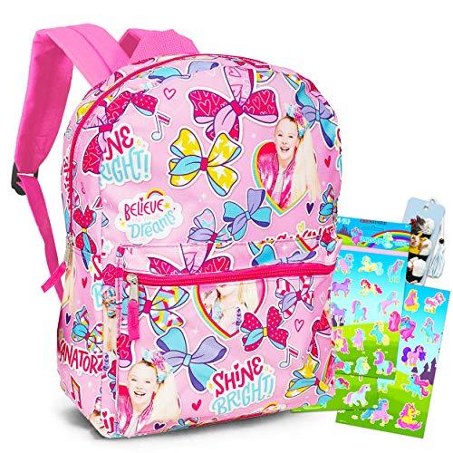 Jojo Siwa Backpack Set for Girls - 4 Pc 16' Jojo Siwa School Backpack Bag Bundle with Stickers, Door Hanger and Bookmark (Jojo Siwa School Supplies)