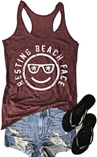 0cae66107c111f Mk Shop Limited Women s Resting Beach Face Sleeveless Funny Workout Tank  Top T-Shirt