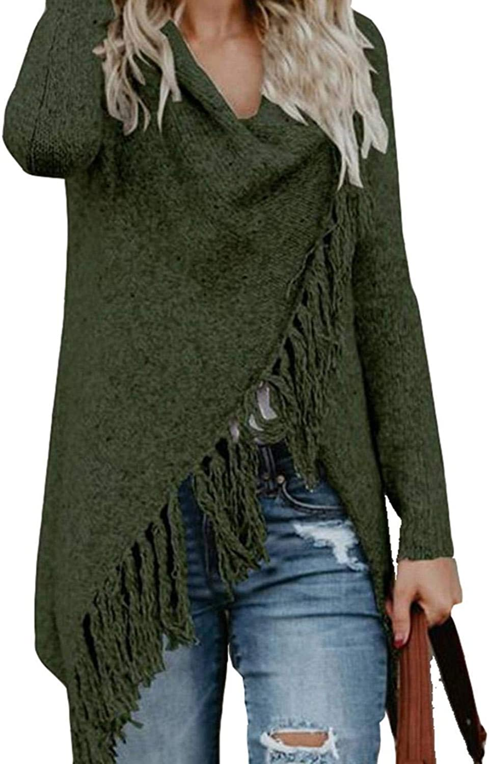 Troll Tree Women Fashion Casual Solid Asymmetric Knit Shawl Cape Sweater Cardigan Cardigans