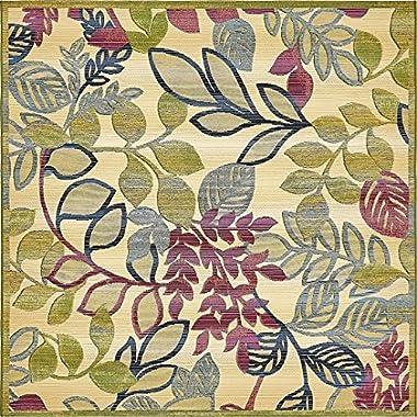 A2Z Rug Indoor/Outdoor Cream 6' x 6' - Feet Marbella Collection Area rugs - Perfect for Outdoor Area's & Indoor