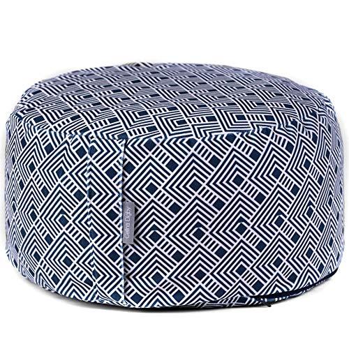 Celina Digby Designer Round Wheel Zafu Cushion for Zen Meditation & Yoga Grade A Velvet Cover + 100% Cotton Inner Generously Filled with Organic Buckwheat Hulls Wheel D 30cm/H 16cm (Japanese Tile)