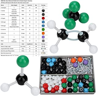 179Pcs Kit de estructura orgánica inorgánica molecular Kit de modelo de química atómica Conjunto de modelo de estructura de órbita electrónica para niños Educación Enseñanza