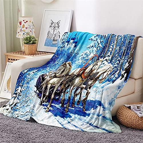 Mantas para Sofa Batamanta Mujer de Franela y Sherpa Manta Bebe Sofa Mantas con Estampados para la Cama y el Sofá 130x150 cm Escena de Nieve de Invierno