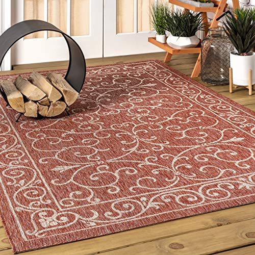 JONATHAN Y Charleston Vintage Filigree Textured Weave Indoor/Outdoor Red/Beige 5 ft. x 8 ft. Area Rug, Classic,EasyCleaning,HighTraffic,LivingRoom,Backyard, Non Shedding