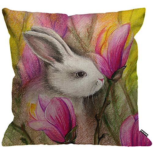 HGOD DESIGNS Cushion Cover Rabbit Spring Watercolor Rabbit In Magnolia Flowers Throw Pillow Cover Home Decorative for Men/Women/Boys/Girls living room Bedroom Sofa Chair 18X18 Inch Pillowcase