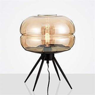 Lampe de Table Abat-Jour Globe en Verre Nordique Gris et Marron Simple créatif en Fer forgé LED Lampe de Table Chambre étu...