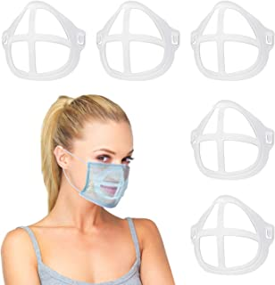 3D Bracket for Comfortable Mask Wearing, Silicone Face Mask Inner Support Frame, Keep Fabric off Mouth to Create More Breathing Space, Reusable Washable Translucent, 5 PCS